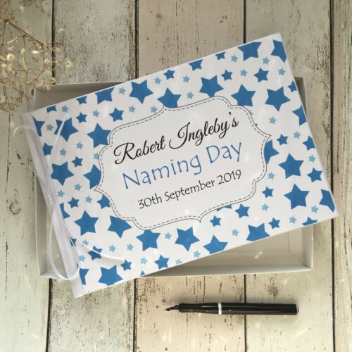 GIFT BOX ~ PINK//BLUE STARS PERSONALISED BABY CHRISTENING//NAMING DAY GUEST BOOK
