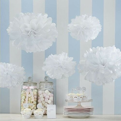 White 3 large/&2 small pompoms Party decorations for party venue baby shower