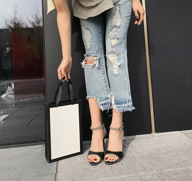 Women Slim High Heel Ankle Ankle Ankle Strap Sandal Buckle Chain Open Toe Black Rivets shoes ccd589
