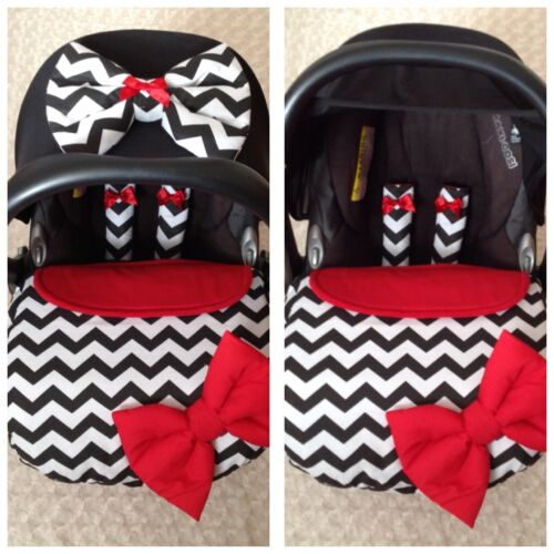 BABY CAR SEAT APRON cover chevrons black white red  HARNESS COVERS PADDED BOW