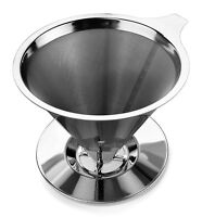 Premium Stainless Steel Coffee Dripper Brewer Cone - 2 Cups - Ships Free