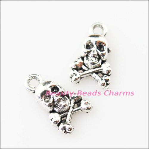 25Pcs Antiqued Silver Tone Tiny Halloween Skull Charms Pendants 8x13mm