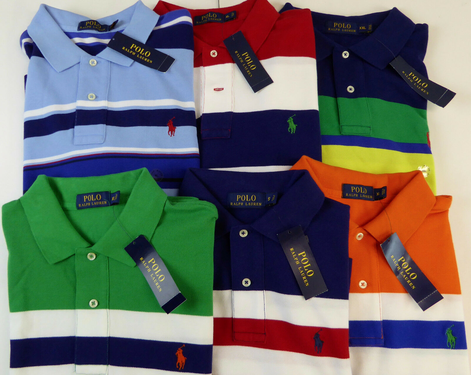 Polo Ralph Lauren SS Multi Striped 100% Cotton Mesh Polo Shirt  NWT  6 colors