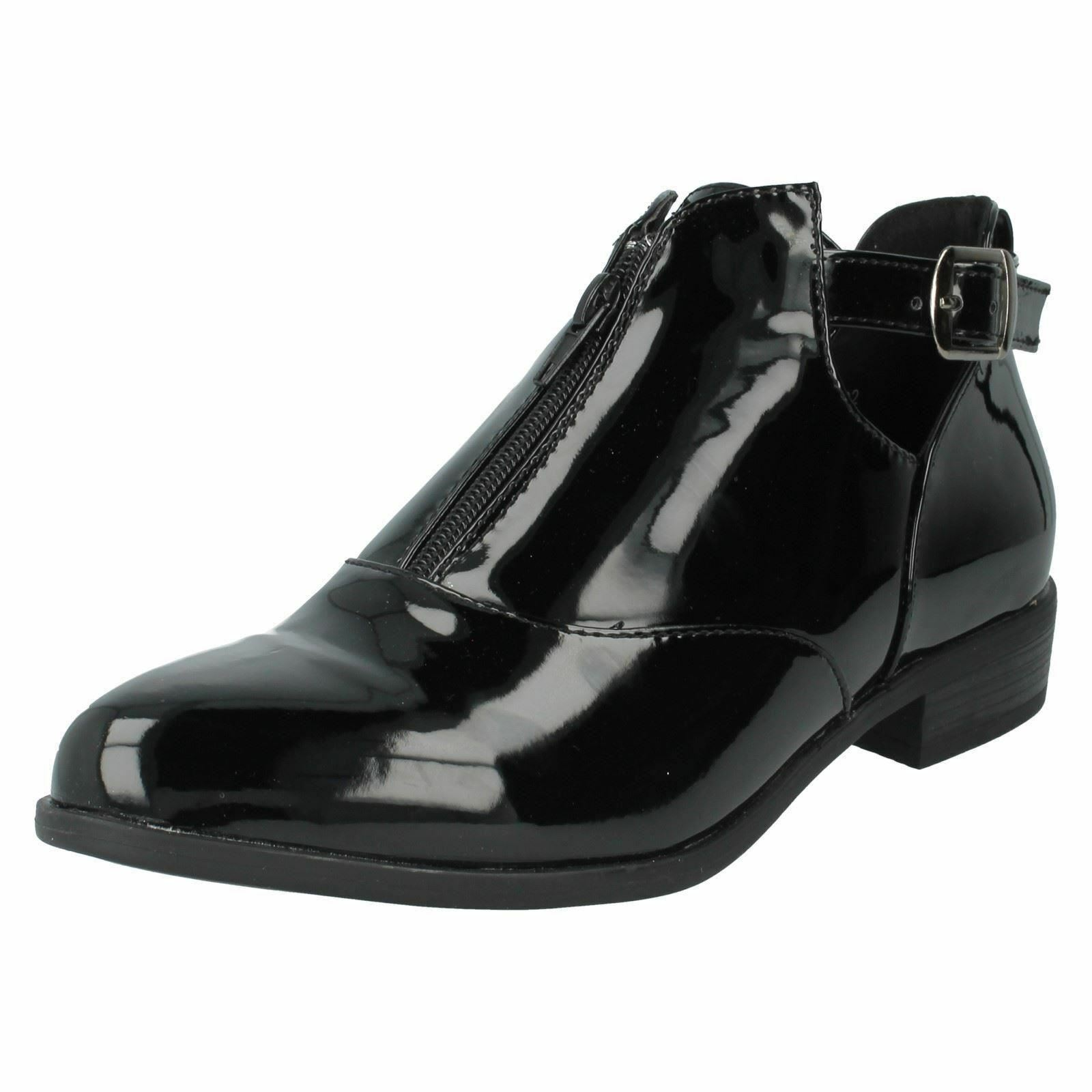 Spot On F50402 Ladies Black Patent Ankle Boots