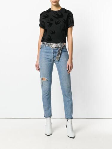 /% 100 Authentic Women SWALLOW print Black T-shirt