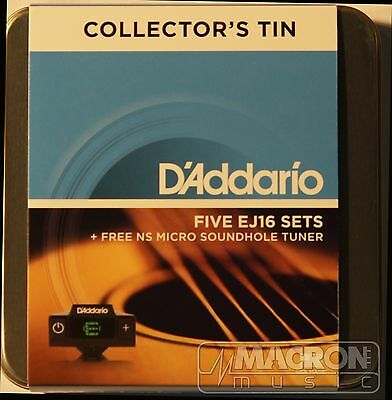 D'Addario EJ16 12-53 5 Sets +NS Micro Soundhole Tuner Collectors Tin