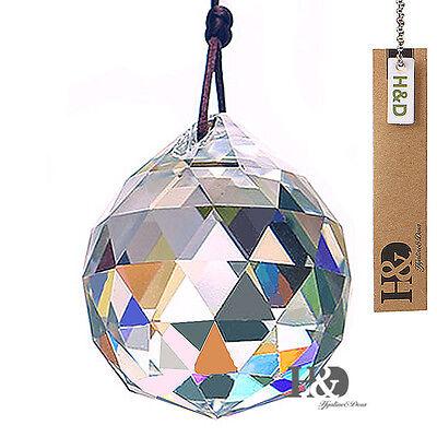 Yellow Crystal Feng Shui Chandelier Ball Prisms Suncatcher Hanging Pendant