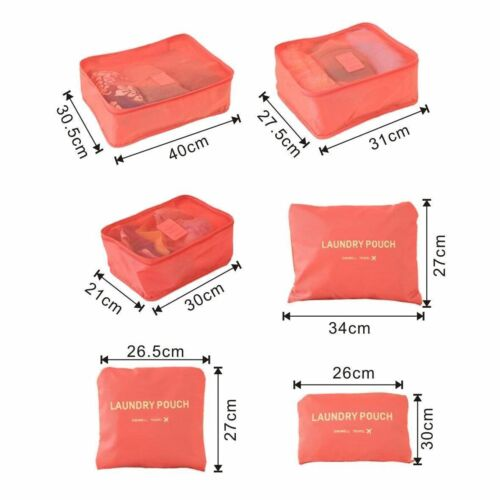 6 Pcs//set Waterproof Travel Clothes Storage Bags Luggage Organizer Pouch Packing