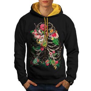 uomo Skeleton New Flower Felpa Skeleton cappuccio cappuccio oro con Black qSHZwvFWB