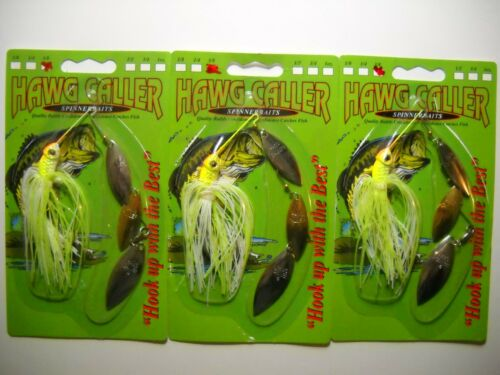 Lot of 3 HAWG CALLER 3//8oz TRIPLE WILLOW spinnerbaits White Chartreuse Gold Flk
