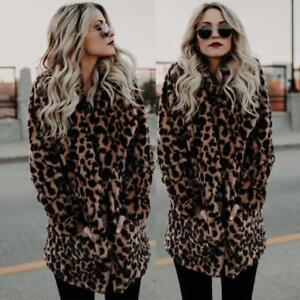 a3454c18e Details about Women Faux Fur Leopard Print Winter Warm parka Jacket Trench  Coat Overcoat Top