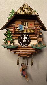 Mini Vtg Schwarzwalduhr Black Forest Clock Swinging Girl WORKS Miniature Cuckoo