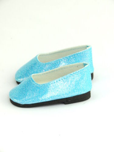 "Teal Bright Glitter Flats Fits 18/"" American Girl Doll Clothes Shoes"