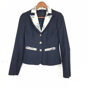 Coast-8-UK-Blazer-Jacket-Navy-Blue-Striped-Texture-Floral-Satin-Collar-Tailored