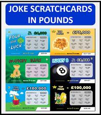 100 Tarjetas de lotería cero Broma Broma falso (6 Diseños) Ideal Para Navidad/Cumpleaños!