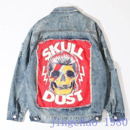 2019 Men/'s Denim Jean Jacket Ripped Hole Retro Washed Punk Rock Street Coat Punk