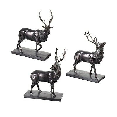 Single Large Stag / Deer Statue in Black on Metal Plaque * 3 Different Poses