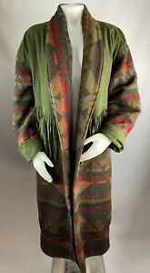 VTG-Coldwater-Creek-SMALL-Women-s-Trench-Coat-Aztec-Tribal-Western-Fringe