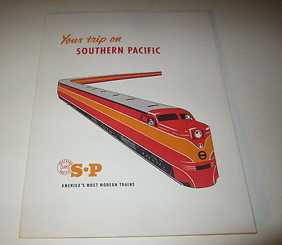 1950's S.P. Railroad DAYLIGHT TRAIN - Your Trip on the Southern Pacific FOLDER