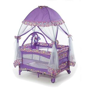 pack and play w mosquito net baby playpen infant bassinet napper purple new ebay. Black Bedroom Furniture Sets. Home Design Ideas