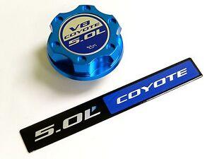 ford mustang gt 5.0l coyote v8 engine blue logo billet engine oil