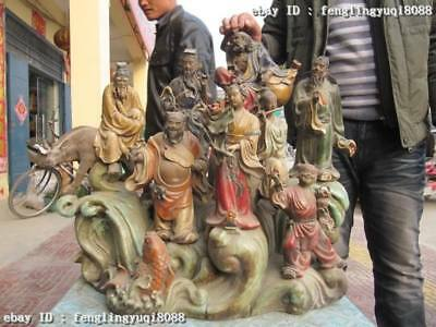 "27""Chinese Folk Old Wucai porcelain Myth Eight Immortals God Buddha statue"