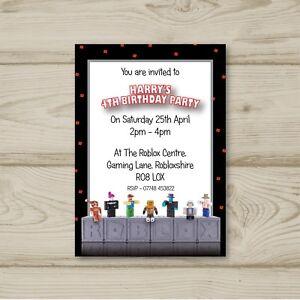 Detalles De Juegos De Roblox Fiesta De Cumpleaños Invitaciones Personalizadas Ver Título Original - roblox not approved