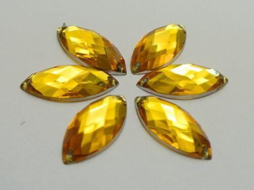 100 Gold Flatback Acrylic Horse Eye Sewing Rhinestone Button 9X20mm Sew on Bead