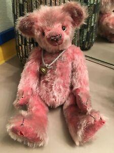 Rare Artist Mohair PINK BEAR Teddy Bears Antique Style ANNE KANE Woodland HTF Vn