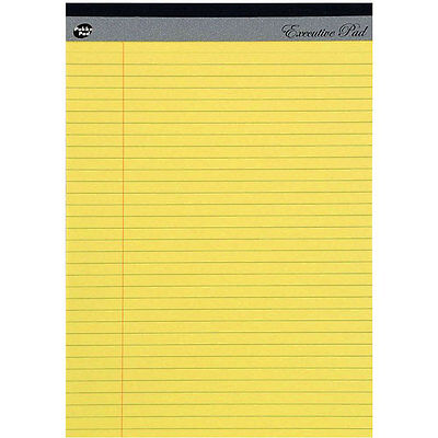 Pack of 5 A4 Pad Yellow Executive Refill 8mm Ruled with Margin 100 Pages