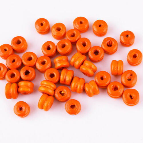 100pcs Mixte Couleur bois rond double couche Spacer Beads Jewelry Findings 5x6mm