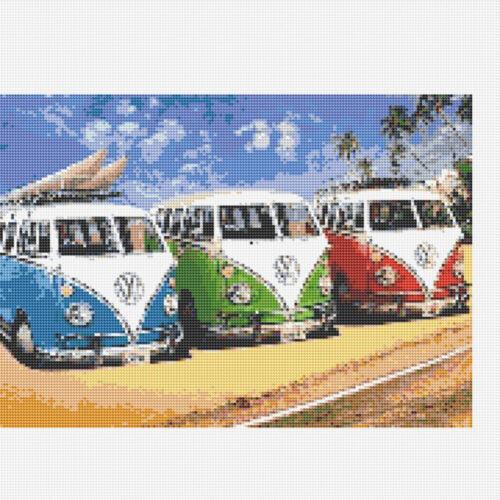 DIY 5D Full Drill Three Bus Diamond Painting Kits Embroidery Decors Art Gifts