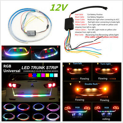 RGB LED Car Rear Trunk Strip Light Tailgate Brake Drive Turn Signal Light Rider