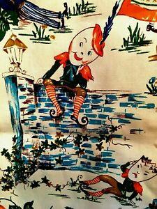 Pr-Vtg-Cotton-Barkcloth-Fabric-Novelty-Curtains-Nursery-Rhyme-Humpty-Dumpy-63X48