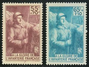France-1938-MNH-Mi-423-424-Sc-B71-B72-French-Soldier-WWI-French-Infantrymen