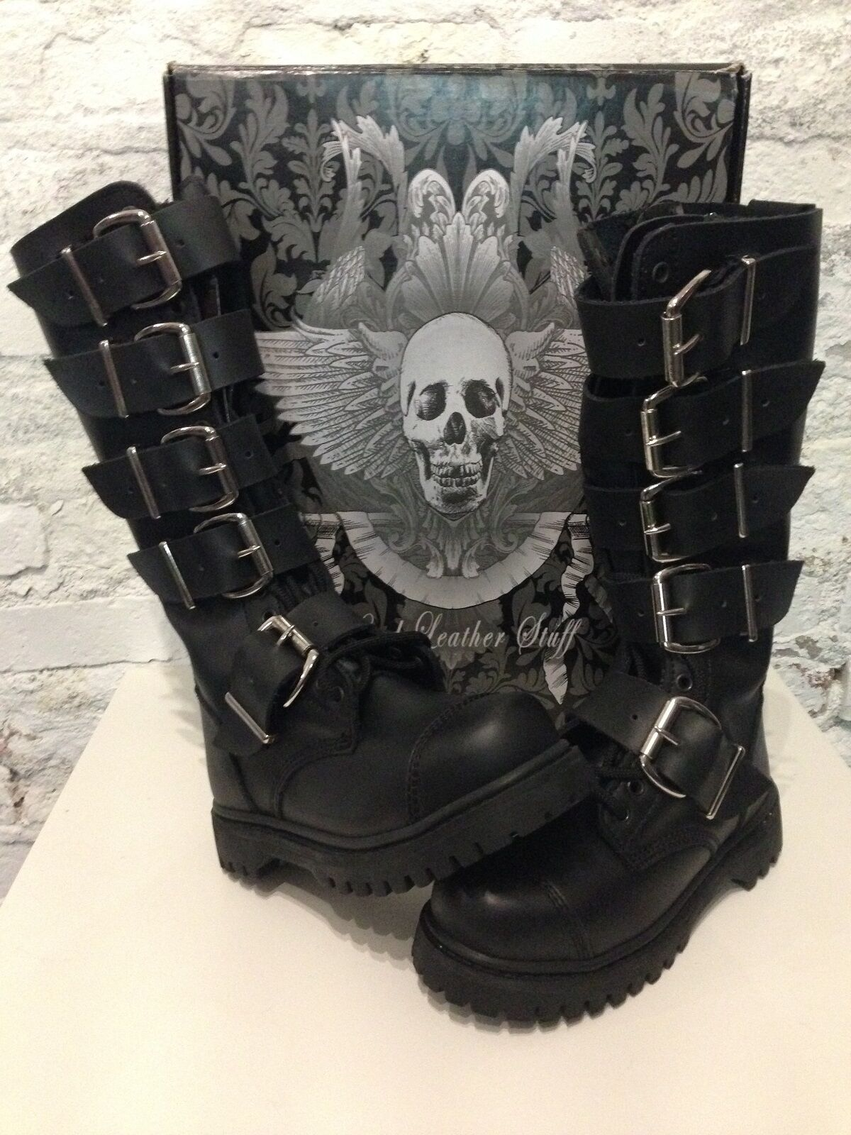 HLS botas - 20-agujero cuero Gothic botas con hebillas de 5 y tapa de acero