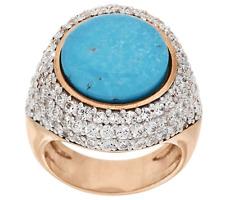 Bronzo Italia Rose Bronze Turquoise Doublet White Topaz Ring Size 6 QVC