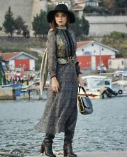 ZARA New Long Paisley Printed Flowing Dress with Belt Size S L BNWT