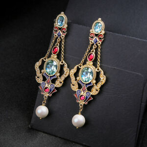Boucles-d-039-oreilles-Chandelier-Renaissance-Filigrane-Mini-Perle-Bleu-Long-XX30