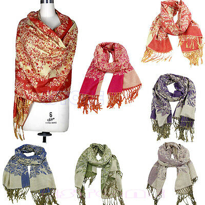 Lady Women Pashmina Warm Jacquard Hood Cowl Warm Winter Soft Shawl Scarf Wraps