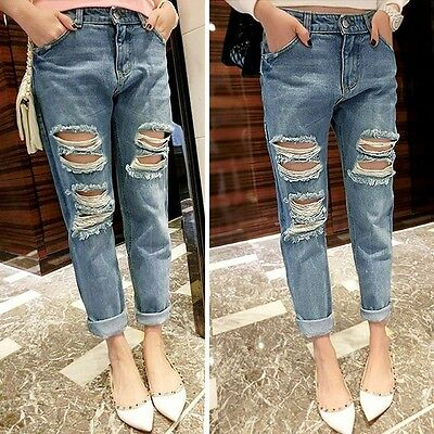 Casual Destroyed Distressed Ripped Women Skinny Wash Denim Jeans Boyfriend