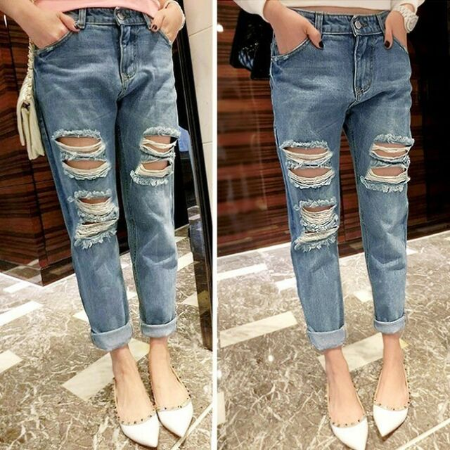 JEANS Destroyed Ripped Distressed Womens Skinny Boyfriend Acid Washed Cropped Q