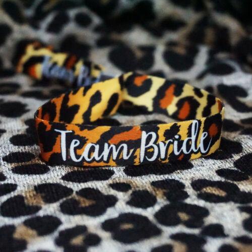 Leopard Print Hen Party Wristbands Team Bride Hen Do Party Favours Bracelets
