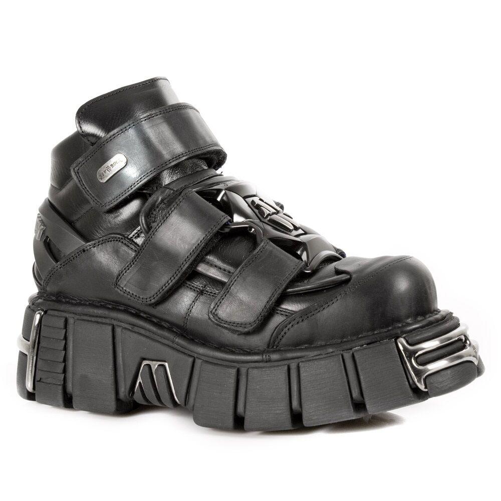 New Unisex Rock M.285-S1 Unisex New Metallic Black Classic Leather Biker Gothic Boots c9545b