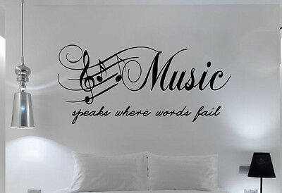 Quote - Bedroom Wall Art Music Speaks Words Fail  Sticker Transfer Decal Mural