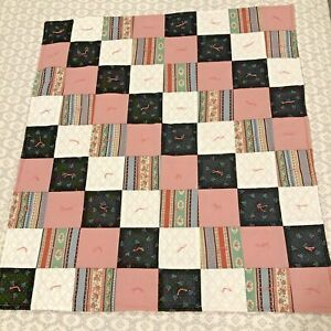 Handmade-Patchwork-Lap-Quilt-39-034-By-44-034-Pink-Black-White-Squares-Hand-tied-EUC