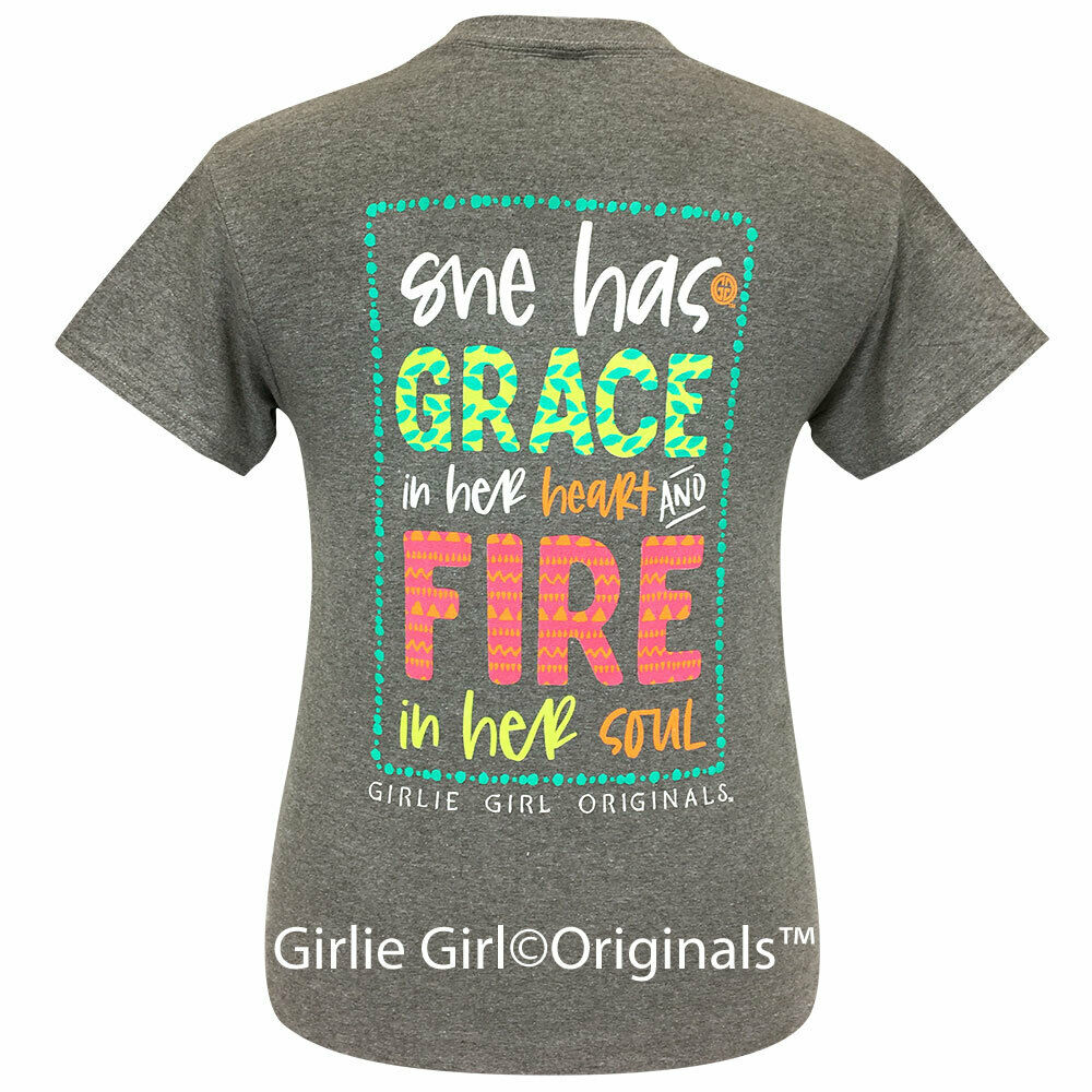 Girlie Girl Originals Tees Grace and Fire Graphite Short Sleeve T-Shirt - 2239