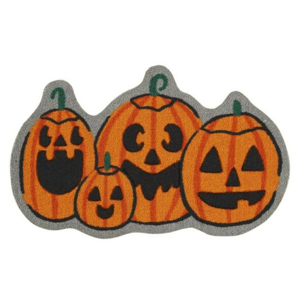 Symbool Van Het Merk Pumpkin Jack O Lantern Shaped Kitchen/bath Throw Rug Mat 18x30 Orange Nwt Duidelijk Effect
