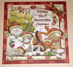 Handmade-Greeting-Card-3D-Christmas-With-Cats-Sentiment-Inside