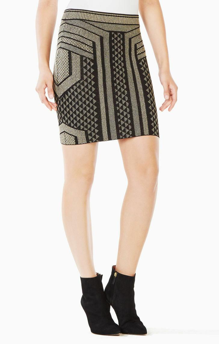 NEW BCBG Max Azria Josa Metallic Pencil Skirt XXS BQU3F748-003